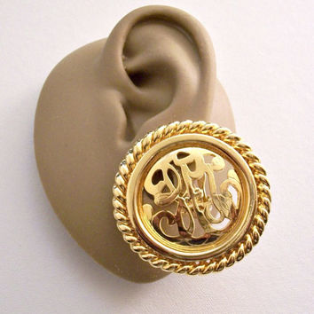 Premier Designs Filigree Open Script Rope Edge Discs Clip On Earrings Gold Tone Vintage Round Raised Accent Center Band