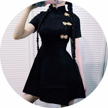 ac VLXC Japanese Harajuku Vintage Gothic Lolita Black Red Slim Chinese Style Cheongsam Dress