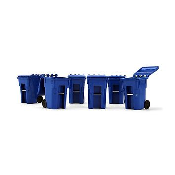 Set of 6 Blue Garbage Trash Bin Containers Replica 1:34 by First Gear