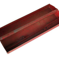 Vintage Red Rustic Tool Tray Home Decor