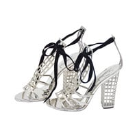 Yves Sain Laurent Silver Cage Sandals Shoes '09