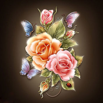 New 30*30cm DIY 5D Butterfly Flower Diamond Embroidery Painting Cross Stitch Home Decor Craft