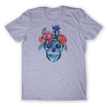 Flower Skull Tee Hippie Alternative Punk Soft Grunge Human Skull Tumblr Graphic T-shirt