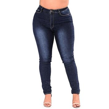 High Waist Denim Skinny Jeans(include Curvy Size)