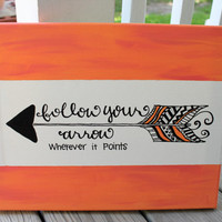 Follow Your Arrow // coral and pink // black and coral arrow // 11x14 inch canvas // READY TO SHIP