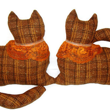 A Set of 2 Orange and Brown Plaid Kitty Cat Window Sitter twins with an orange lace collar