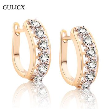 GULICX Brand New 2017 Hollow Huggie Ear Piercing Hoop Earring for Women Gold-color Earing White CZ Wedding Jewelry E202