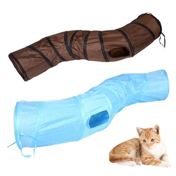 "123cm ""S"" Funny Pet Tunnel Cat Play Tunnel Brown Foldable 1 Holes Cat Tunnel Kitten Cat Toy Bulk Cat Toys Rabbit Play Tunnel"