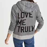 SUNDRY Love Me Truly High Neck Hoodie Sweatshirt