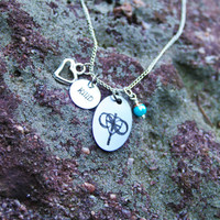 Personalized Religious Cross Necklace - Cross Infinity Heart Necklace - Personalized Engraved Handstamped Necklace