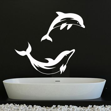 Vinyl Wall Decal Dolphins Bathroom Decor Ocean Marine Stickers Unique Gift (ig4221)