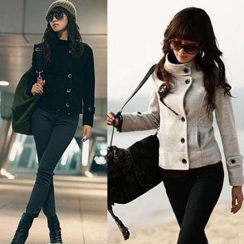 Elegant Winter Warm Stand Collar Wool Blend Women Short Jacket Coat Outerwear  SV006672 = 1931608644