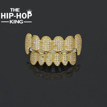 ac DCCKO2Q 2017 New Custom Fit Hip Hop Shiny Full Iced Out AAA Cubic Zircon Crystal Teeth Grill Gold Silver Fang Top & Bottom Grill Set