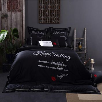 black bedding king size egyptian bedding cotton luxury embroidered duvet cover Korean bedding set couple satin bedlinen percale