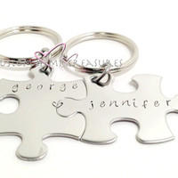 Connecting Hearts Couples keychains with names