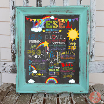 Rainbow Chalkboard Birthday Sign | 1st Birthday Poster | Noah's Ark Printable Birthday Sign