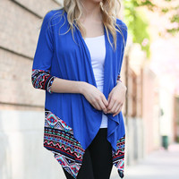 Solid knit Cardigan with printed Aztec Edge, Royal