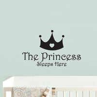 Wall Vinyl Sticker Decals Decor Art Bedroom Kids Design Mural Princess Sleep here Crown  (z925)