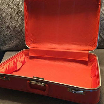 Vintage 70's Vega Tangerine Leather Suitcase