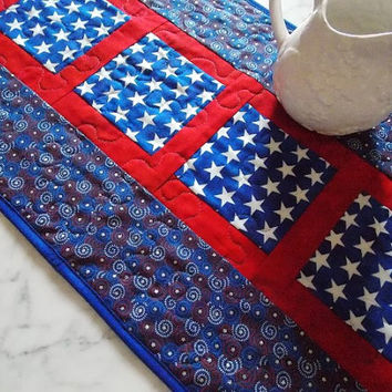 4th of July Table Runner Quilt - Patriotic - Independence Day  - Red - White - Blue - Stars