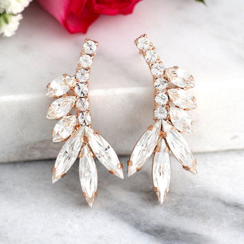 Bridal earrings, Bridal Swarovski earrings,Bridal Cluster Studs, Swarovski Bridal earrings, White Crystal Vintage Earrings, Gift for her