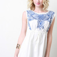 Women's Floral Embroidery Stitch Dress
