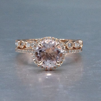 2 Morganite Bridal Set,Engagement ring Rose gold,Diamond wedding band,14k,7mm Round Cut,Gemstone Promise Ring,Claw Prongs,Pave Set,Art Deco