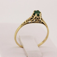 Antique Engagement Ring Emerald Ring Victorian Ring Vintage Wedding Ring Yellow Gold Ring Engraved Ring Promise Ring Gemstone Ring Size 7