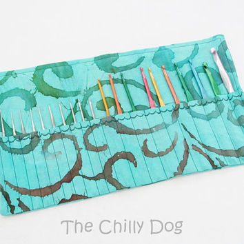 Roll Up Crochet Hook Case: Aqua Batik Swirls