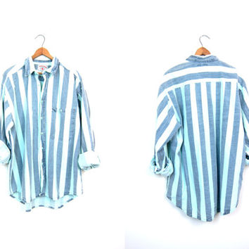 Vintage 80s Striped Shirt Faded Blue Aqua & Denim Surfer Shirt Hipster Button Up Thin Cotton Shirt Retro Mens Large XL