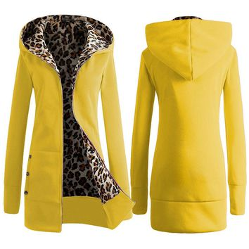 Trendy Hooded Leopard Print Zipper Coat for Women
