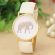 Fashion Women's Quartz Dial Watch Stainless Steel Watch with White Leather Band Elephant Printing Pattern Weaved Watch