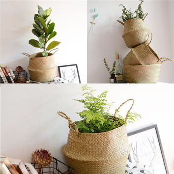 Seagrass Belly Basket Storage Plant Pot Room Foldable Laundry Bag Home Decor