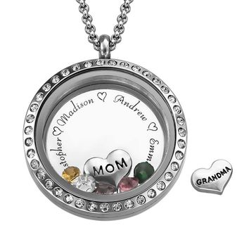 Floating Charms Engraved Locket Jewelry for Mom Personalized with Birthstones