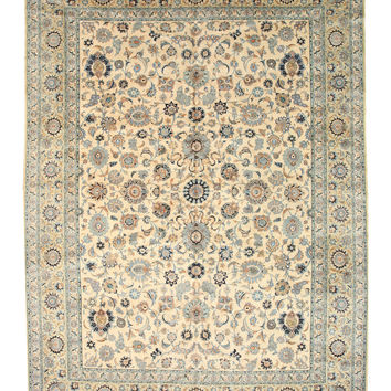 Hand-knotted Wool Beige Traditional Oriental Persian Kashan Rug (10'7 x 14'4)