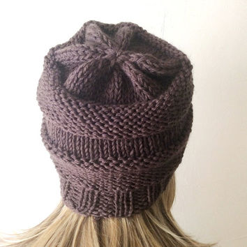 "Hand Knitted Hat, Beret Hat, Coffee Brown Beanie ,Boho ""Chunky "", Winter Fashion, Winter Accesories"