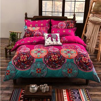 Luxury Twin Full Queen King Size Soft 3 Pcs Duvet Cover Fiber Pink Blue Hit Color Flowers Ethnic Prints Quilt Cover Only