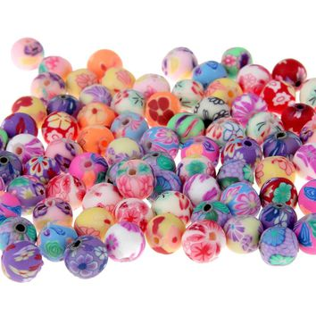 Free shipping (50 Pieces/lot) 8mm Fimo Polymer Clay Beads Printing Flower Pattern Round Loose Beads Mix Color For Jewelry Making