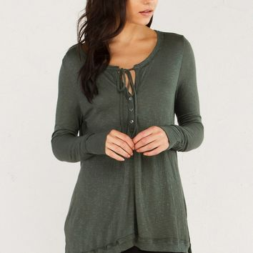 Long Sleeve Shirt with Button and Tie Front in Green