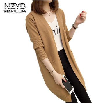 2018 Spring Autumn Women Sweater New Style Fashion Mid-Long Knitting Coat Cardigan Casual Loose Large Size Female Jacket NZYD597