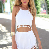 White Halter Tassel Top With Paired Shorts