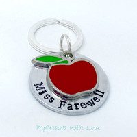Personalized Teacher gift / Hand stamped Keychain / personalised apple keyring / thank you /end of year teacher gift / graduation gifts