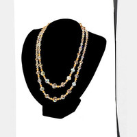 Mid Century Glass Bead Necklace with Gold Metal Filigree Beads