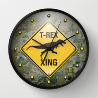 T-Rex Crossing Wall Clock by Peter Gross