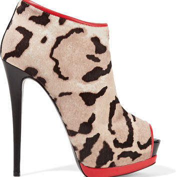 Leather-trimmed leopard-print calf hair ankle boots | Giuseppe Zanotti | US | THE OUTNET