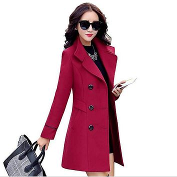 Fashion Women Double Breasted Wool Coat