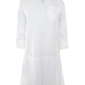 White Shirt Dress with Pleated Skirt Detail