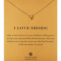 14K Gold Plated Sterling Silver I Love Shoes Bow Stiletto Necklace