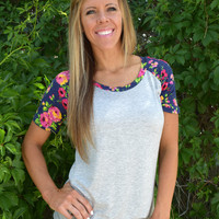 Floral Sleeve Baseball Tee - Heather Gray/Navy