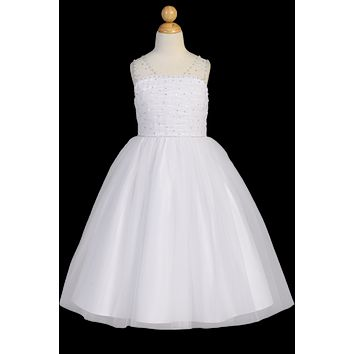Beaded Ruched Tulle Girls Communion Dress w. V-Back & Sequins 6-14